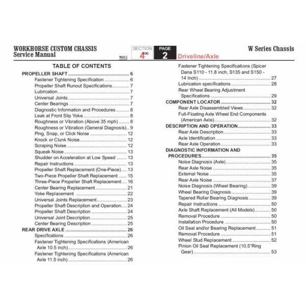 2006 Workhorse W Series Driveline Axle Service Manual Download